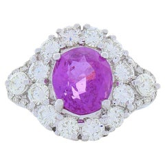 3.06 Carat Oval Pink Sapphire and Diamond Cocktail Ring in 14 Karat Gold
