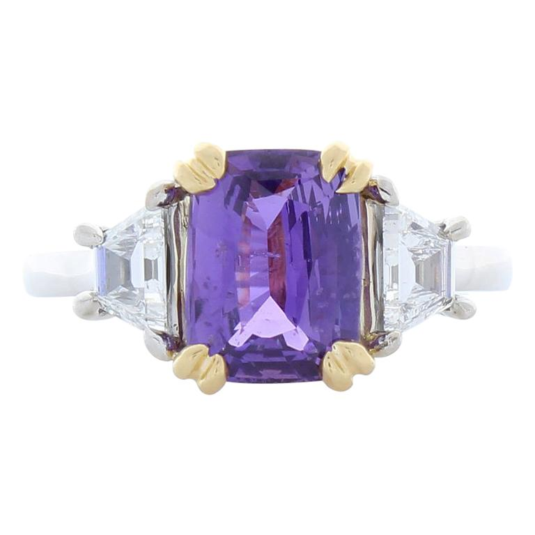 2.98 Carat Emerald Cut Purple Sapphire and Diamond Two-Tone Cocktail Ring