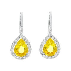 5.69 Carat Pear Shape Yellow Sapphire and Diamond Earrings in 18 Karat Gold