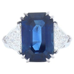 10.50 Carat Emerald Cut Blue Sapphire and Trillion Diamond Cocktail Ring in Gold