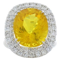 12.70 Carat Cushion Cut Yellow Sapphire and Diamond Cocktail Ring in White Gold