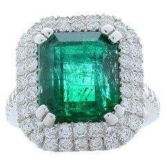 6.47 Carat Emerald Cut Emerald and Diamond Cocktail Ring in 18 Karat White Gold