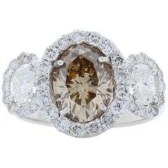 2.02 Carat Oval Brown Diamond Cocktail Ring in 18 Karat White Gold