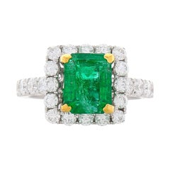 2.48 Carat Emerald Cut Emerald And Diamond Two Tone Cocktail Ring In 18K Gold