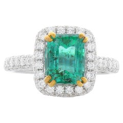 1.95 Carat Emerald Cut Emerald And Diamond Two Tone Cocktail Ring In 18K Gold