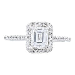 GIA Certified 1.04 Carat Emerald Cut Diamond Cocktail Ring in Platinum