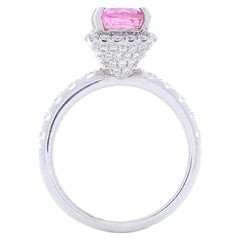 2.24 Carat Cushion Cut Pink Sapphire and Diamond Cocktail Ring in 18 Karat Gold