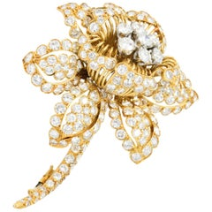 David Webb 13.00 Carat Diamond and 18 Karat Gold Flower Brooch, circa 1960