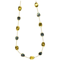Marco Bicego Lunaria 18 Karat Gold and Black Mother of Pearl Long Necklace