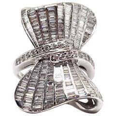 6.58 Carat 18 Karat White Gold Baguette Cocktail Dress Diamond Ring