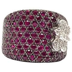 5.11 Carat 18 Karat White Gold Cocktail Dress Red Ruby Diamond Ring
