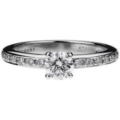 Bulgari Griffe, GIA Certified Round Diamond Solitaire 0.50ct D VS1 platinum ring