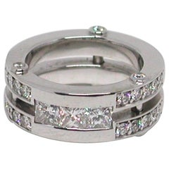 1.68 Carat 18 Karat White Gold Cocktail Dress Princess Diamond Memory Band Ring