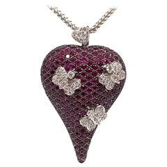 9.76 Carat 18 Karat White Gold Cocktail Dress Red Ruby Diamond Necklace Pendant