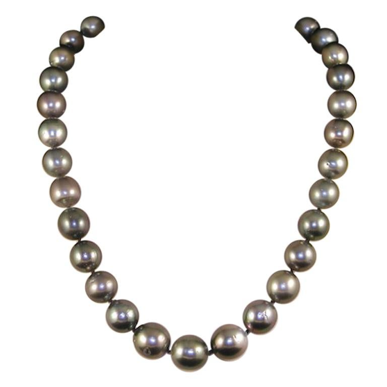 Black Green Grey Natural Tahiti Pearl Cocktail Dress Necklace For Sale