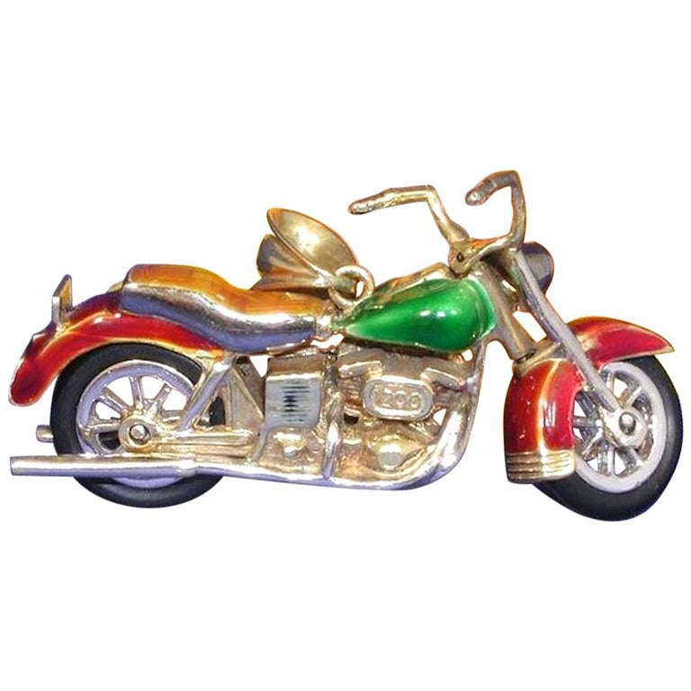 14 Carat Gold Men's Multi-Color Enamel Harley Davidson Motorcycle Pendant For Sale