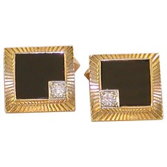 18 Carat Yellow Gold Vintage Men's White Diamond Black Onyx Shirt Suit Cufflinks