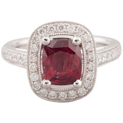 Certified 2.09 Carat Ruby and Diamonds Ring