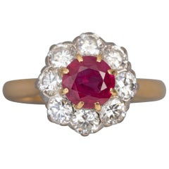 Antique French Ruby and Diamonds Ring
