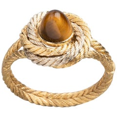 Tiger Eye  Gold  Cable Bracelet
