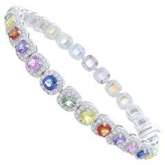 10.10 Carat Total Multi-Color Sapphire and Diamond Bracket in 18 Karat Gold