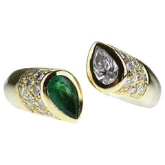 Pear Shape Emerald and Diamond Open Ring in 18 Carat Yellow Gold
