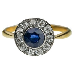 Antique 1920s Sapphire and Old European Cut Diamond Round Cluster Ring