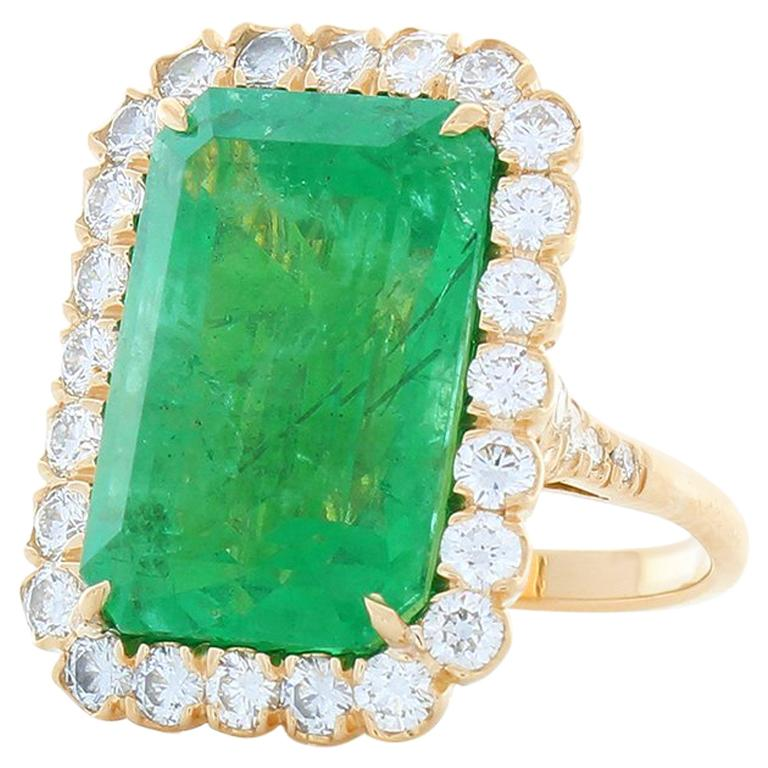 GIA Certified 16.28 Carat Octagon Cut Emerald and Diamond Cocktail Ring  For Sale