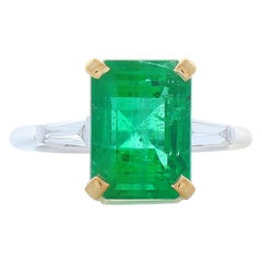 GIA Certified 5.26 Carat Octagon Cut Emerald Two Tone Cocktail Ring In 18K Gold
