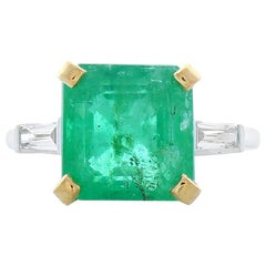 GIA Certified 6.79 Carat Octagonal Emerald and Diamond Two-Tone Cocktail Ring