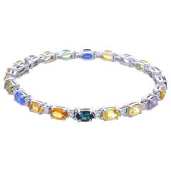11.97 Carat Total Multi-Color Oval Sapphire & Diamond Bracelet in 14 Karat Gold