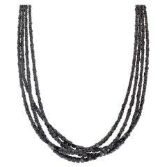 84 Carat Total Square Black Diamond Multi Strand Necklace in 14 Karat White Gold