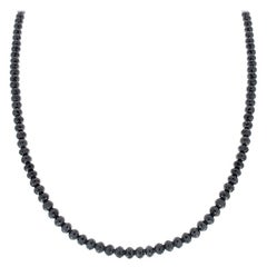 53 Carat Total Briolette Black Diamond Necklace in 14 Karat White Gold