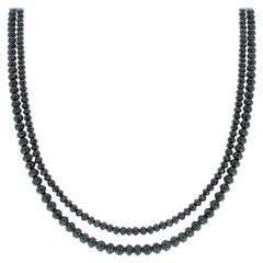 87.00 Carat Total Briolette Black Diamond Necklace in 14 Karat White Gold