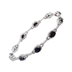 4.84 Carat Total Oval Black Diamond Bracelet in 14 Karat White Gold