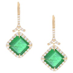 6.19 Carat Total Emerald and Diamond Dangle Earrings in 18 Karat Yellow Gold