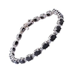 9.90 Carat Total Oval Black Diamond Bracelet in 14 Karat White Gold