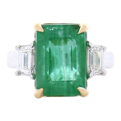GIA Certified 7.80 Carat Emerald Cut Emerald and Diamond Two-Tone Cocktail Ring