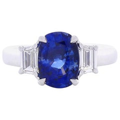3.06 Carat Cushion Cut Blue Sapphire and Diamond Cocktail Ring in 18 Karat Gold