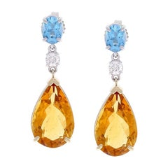 12.89 Carat Total Pear shape Citrine and Diamond Two Tone Earrings In 14k Gold