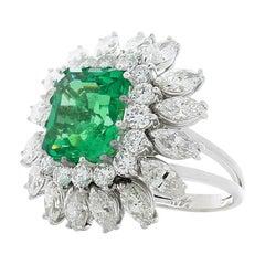 6.27 Carat Emerald Cut Emerald and Diamond Cocktail Ring in Platinum
