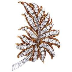 1960s Diamond 18 Karat Yellow Gold Platinum Leaf Pin Brooch