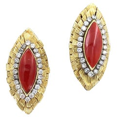 1960s Diamond Italian Red Coral 18 Karat Yellow Gold Clip Earrings
