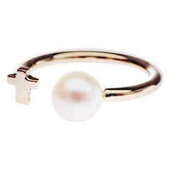 Love Pearl Gold Ring Cross Adjustable J Dauphin