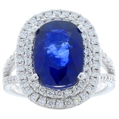 GIA Certified 4.49 Carat Cushion Cut Blue Sapphire and Diamond Cocktail Ring