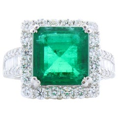5.88 Carat Emerald Cut Emerald and Diamond Cocktail Ring in 18 Karat White Gold