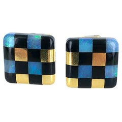 Angela Cummings Opal Black Jade 18 Karat Yellow Gold Cufflinks