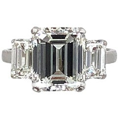 5.03 Carat H VS2 Emerald Cut Diamond Platinum Engagement Ring GIA Certified