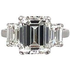 5.03 Carat H or VS2 Emerald Cut Diamond Platinum Engagement Ring GIA Certified