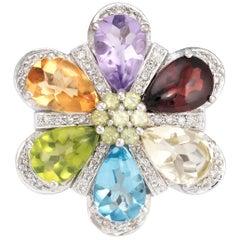 Estate Rainbow Gemstone Diamond Ring 14 Karat White Gold Flower Statement